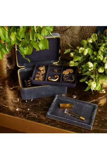"""AERIN Valentina Dusk Blue Velvet Rectangle Tray L9.5"""" x W6.8"""" x H1"""" - Available in 3 Colors"""