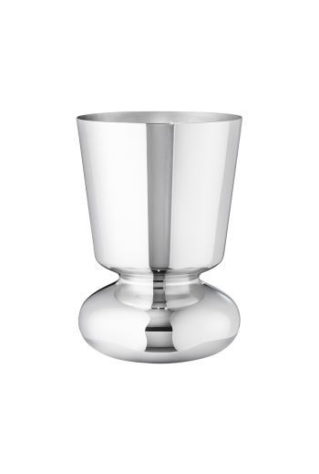 Georg Jensen Alfredo Small Mirror Polished Stainless Steel Vase - H: 8.66 inches. Ø: 5.91 inches.