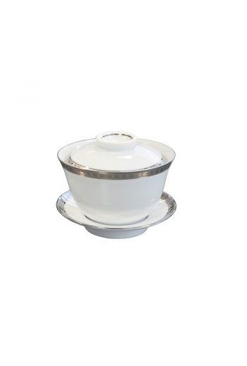 Bernardaud Athena Platinum Small Covered Cup - 3.4 oz
