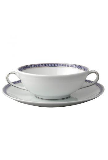 """Bernardaud Athena Navy Cream Soup Cup & Saucer - 5"""""""