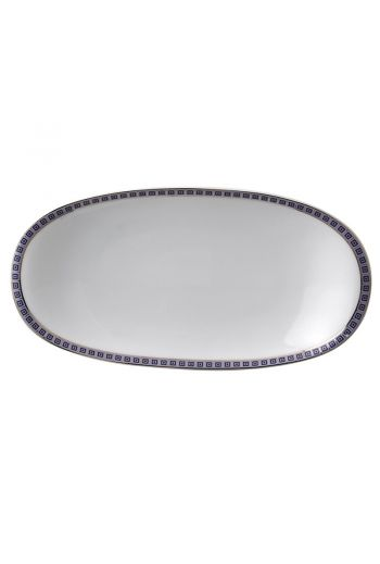 "Bernardaud Athena Navy Relish Dish - 9"" l x 5"" w"