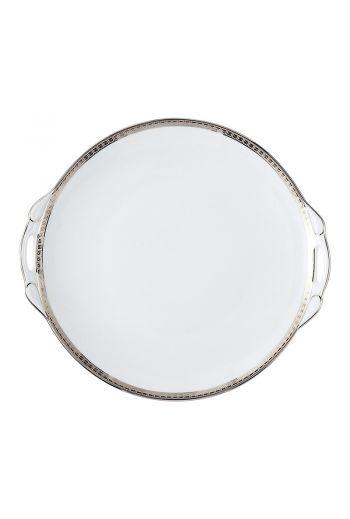 """Bernardaud Athena Platinum Cake Plate with Handles - 11"""""""