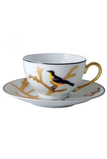 Bernardaud Aux Oiseaux Tea Cup Boule Shape - 4.4 oz