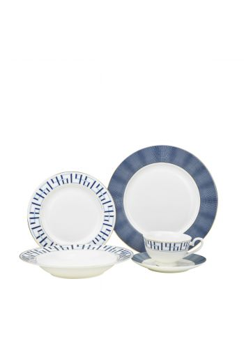 Joseph Sedgh Bentley Cobalt 20 Piece Mix & Match Bone China Dinnerware Set - Service for 4