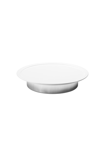 Georg Jensen Bernadotte White Porcelain and Stainless Steel Serving Plate - H: 2.09 inches. Ø: 11.81 inches.
