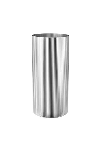 Georg Jensen Bernadotte Stainless Steel Vase, Large - H: 10.24 inches. Ø: 4.72 inches.