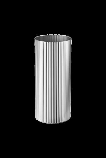 Georg Jensen Bernadotte Stainless Steel Vase, Medium - H: 7.4 inches. Ø: 4.0 inches.
