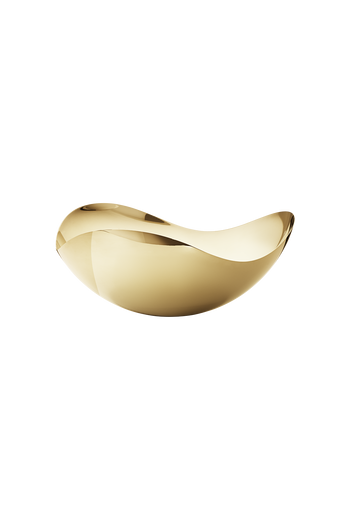 Georg Jensen Bloom 18 Kt. Gold Plated Stainless Steel Bowl, Large - H: 5.51 inches. W: 13.39 inches. L: 13.78 inches.