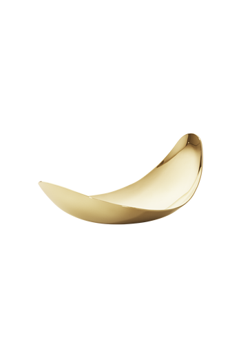 Georg Jensen Bloom Leaf Dish, Small 18 Kt. Gold Plated Stainless Steel - H: 3.54 inches. W: 6.5 inches. D: 2.76 inches.