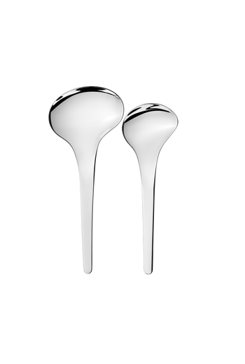 Georg Jensen Bloom Mirror Polished Stainless Steel Serving Spoons, 2 Pcs. - Small: L: 210 mm W: 75 mm, Large: L: 230 mm W: 100 mm
