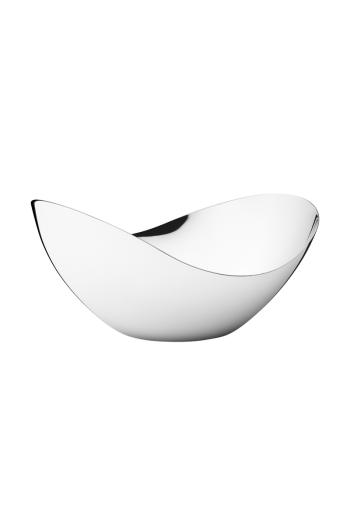 Georg Jensen Bloom Stainless Steel Tall Mirror Bowl - Medium - H: 4.41 inches. W: 5.51 inches. L: 8.66 inches.