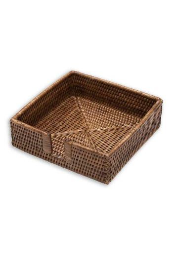 "Caspari Rattan Luncheon Napkin Holder in Dark Natural - 7.5"" Sq. x 2.2"" H"