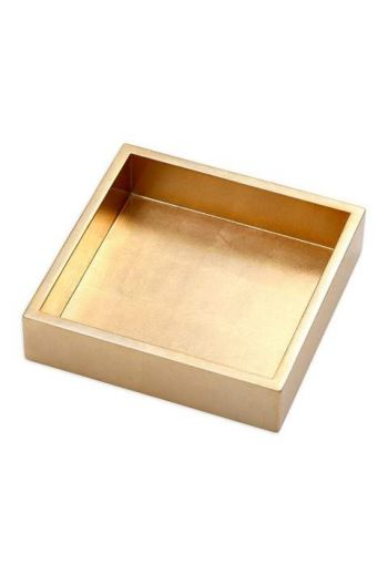 "Caspari Lacquer Luncheon Napkin Holder in Gold - 7.5"" Sq. x 2.2"" H"