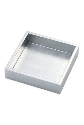 "Caspari Lacquer Luncheon Napkin Holder in Silver - 7.5"" Sq. x 2.2"" H"