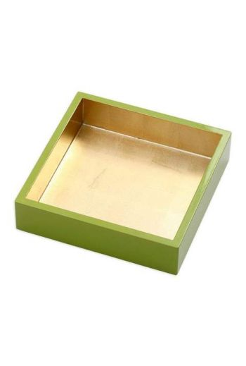 "Caspari Lacquer Luncheon Napkin Holder in Sage & Gold - 7.5"" Sq. x 2.2"" H"