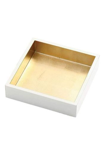 "Caspari Lacquer Luncheon Napkin Holder in Ivory & Gold - 7.5"" Sq. x 2.2"" H"