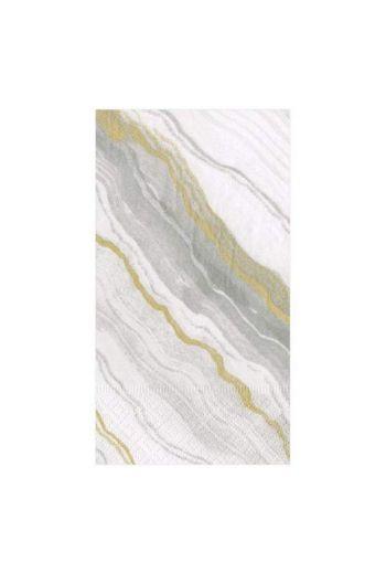 Caspari Marble Grey Paper Guest Towels - 15 per pack