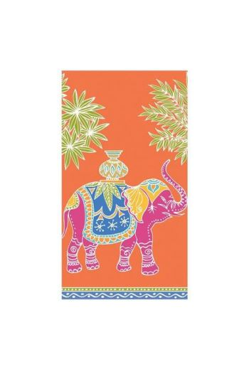 Caspari Royal Elephant Orange Paper Guest Towels - 15 per pack