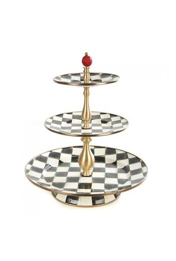 "MacKenzie-Childs Courtly Check Enamel Three Tier Sweet Stand - 12"" dia., 14"" tall"