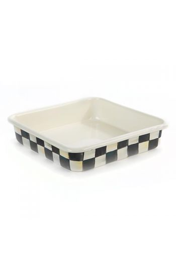 """MacKenzie-Childs Courtly Check Enamel Baking Pan - 8"""" - 8"""": wide, 8"""" long, 2"""" deep"""