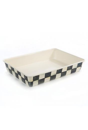 "MacKenzie-Childs Courtly Check Enamel Baking Pan - 9"" x 13"" - 9"" wide, 13"" long, 2.25"" deep"
