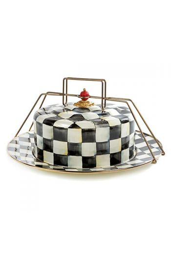 "MacKenzie-Childs Courtly Check Enamel Cake Carrier - 16"" dia., 7"" tall, dome: 10.5"" dia., 4.5"" tall (not including knob)"