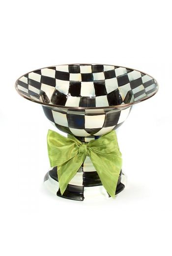 "MacKenzie-Childs Courtly Check Enamel Large Compote  - 12"" dia., 9"" tall, 5 cup capacity"