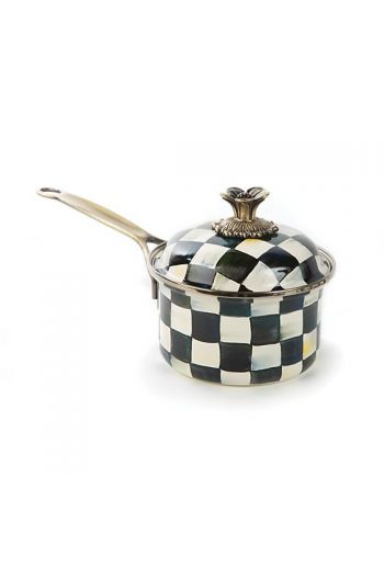 """MacKenzie-Childs Courtly Check Enamel 1 Qt. Saucepan - 12.5"""" wide, 6.5"""" tall"""