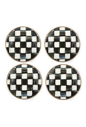 MacKenzie-Childs Courtly Check Enamel Set of 4 Canape Plates - 5 dia.