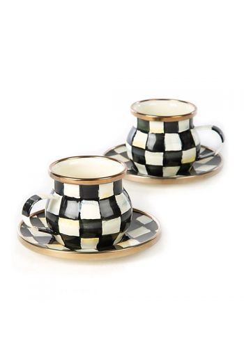 "MacKenzie-Childs Courtly Check Enamel Espresso Cup & Saucer Set - Saucer: 3.75 dia., Cup: 2.25"" tall, 3 oz. capacity,"