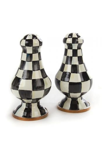 "MacKenzie-Childs Courtly Check Enamel Large Salt & Pepper Shakers - 3.25"" dia., 6.375"" tall (each)"