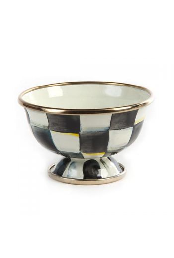 "MacKenzie-Childs Courtly Check Enamel Little Sugar Bowl - 3.25"" dia., 2"" tall, 4 oz. capacity"