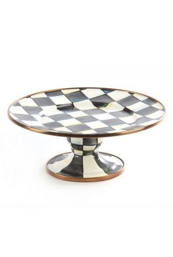 "MacKenzie-Childs Courtly Check Enamel Mini Pedestal Platter - 8"" dia., 3"" tall"