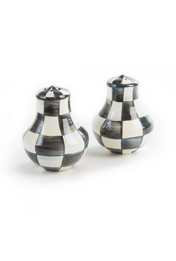 "MacKenzie-Childs Courtly Check Enamel Salt & Pepper Shakers - 2.5"" dia., 3"" tall (each)"