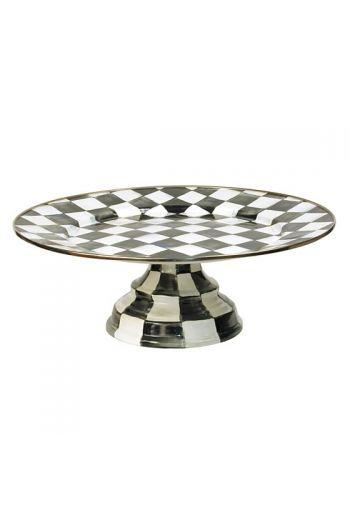 "MacKenzie-Childs Courtly Check Enamel Large Pedestal Platter - 16"" dia., 5.75"" tall, Flat surface inside raised rim: 10.5"" dia."