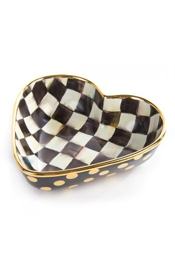 "MacKenzie-Childs Courtly Check Large Heart Bowl - 8.75""  wide, 7.88"" long, 2.63"" tall, 4 cup capacity"
