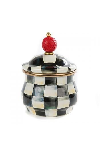 "MacKenzie-Childs Courtly Check Enamel Lidded Sugar Bowl - 4"" dia., 5.25"" tall (with lid), 10 oz. capacity"
