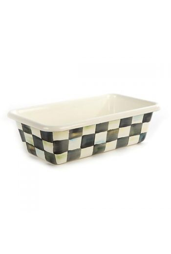 """MacKenzie-Childs Courtly Check Enamel Loaf Pan - 4.5"""": wide, 8.5"""" long, 2.5"""" deep"""