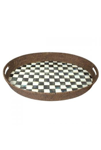 "MacKenzie-Childs Courtly Check Rattan & Enamel Party Tray - 11"" wide, 15"" long"