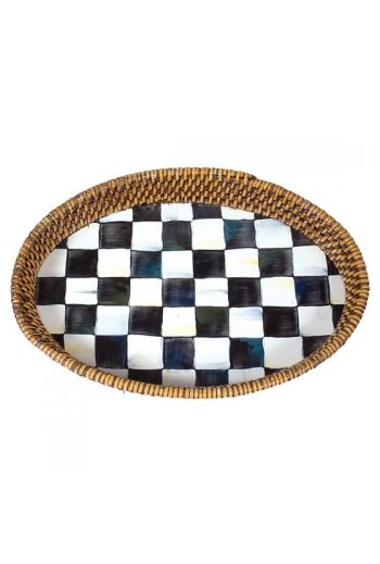 "MacKenzie-Childs Courtly Check Rattan & Enamel Tray - Small - 8"" wide, 11"" long"