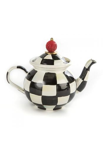 "MacKenzie-Childs Courtly Check Tea for Me Pot - 8"" wide handle to spout, 6.5"" tall, 3 cup capacity"