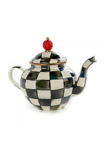 "MacKenzie-Childs Courtly Check Enamel Teapot - 9"" wide handle to spout, 7"" tall, 4 cup capacity"