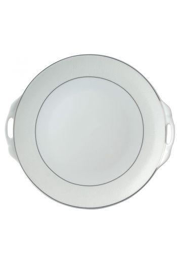 """Bernardaud Dune Round Cake Plate with Handles - 11"""""""
