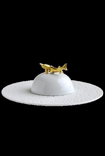 Bernardaud Ecume White Caviar Plate & Bell Cover