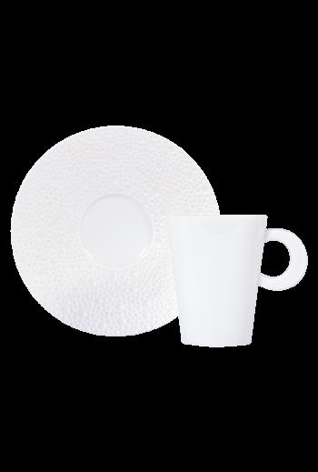 Bernardaud Ecume White Espresso Cup & Saucer - Holds 2 oz