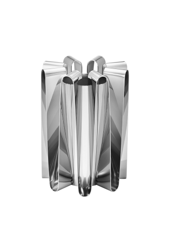 Georg Jensen Frequency Vase, Large Mirror Polished Stainless Steel - H: 8.66 inches. :Ø 6.3 inches.