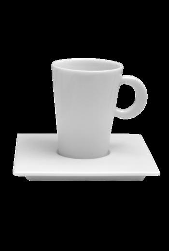 Bernardaud Fusion Espresso Ad Cup & Square Saucer - Holds 2 oz