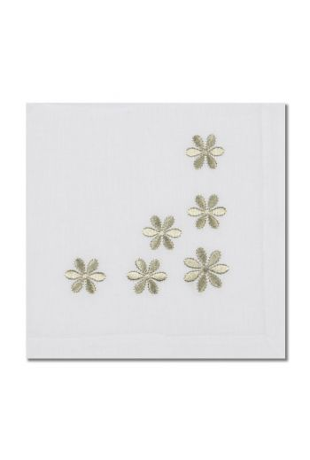 White With Gold Daisys Napkin