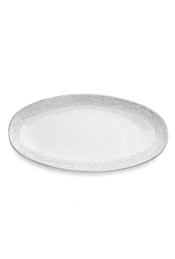 Arte Italica Merletto Graffiata White Oval Platter