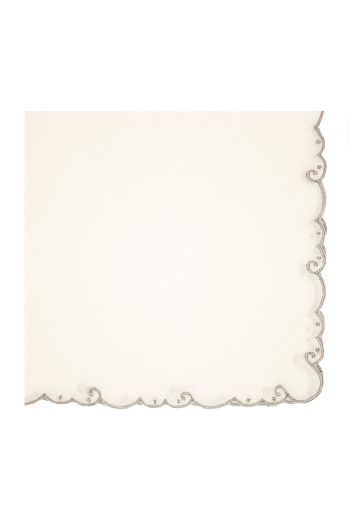 Silver Bordered Embroidered White Linen Napkin